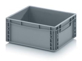 EG4317-HG | AUER eurobak gesloten uitvoering, afm. 40x30x17 cm (lxbxh), handgrepen gesloten, stapelbaar, zilvergrijs, inhoud 15 liter, gewicht 1,1 kg