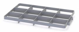 GEF12U | AUER vakverdeler voor eurobox 60x40 cm, 12 vakken afm. 13,7x11,7 cm (bxd) voor onder, glas ø max. 11,6 cm, RAL 7001 zilvergrijs, fabrieksgarantie 2 jr