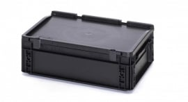 ESD-ED4312-HG | AUER Euro-bak ESD antistatisch, gesloten uitvoering met scharnierend deksel, afm. 400x300x135 mm (lxbxh), handgrepen gesloten, volume 10 l, stapelbaar, RAL 9017 zwart, gewicht 1,47 kg, fabrieksgarantie 5 jr
