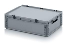 ED6417 | AUER eurobak met scharnierend deksel en sluitingen, afm. 60x400x18,5 cm (lxbxh), handgrepen open, stapelbaar, zilvergrijs RAL 7001, volume 35 liter, gewicht 2,26 kg, fabrieksgarantie 5 jr