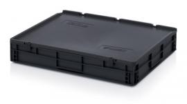ESD-ED8612-HG | AUER eurobak antistatisch, gesloten uitvoering met scharnierend deksel, afm. 80x60x14 cm (lxbxh), volume 45 l, stapelbaar, RAL 9017 zwart, gewicht 5,98 kg