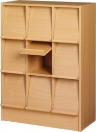 E31173 | PRIMA OFFICE Classic Quadro tijdschriften- folderkast, 9 vakken met schuine klep, decor beukenlaminaat, afm. 830x400x1150 mm (bxdxh)
