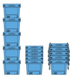 611124 | BITO combikrat incl. klapdeksel, afm 41x30x29 cm (lxbxh), inhoud 22 ltr, stapelbaar, duifblauw