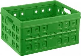 57000661 | SUNWARE Square stapelbare vouwkrat met open handgrepen, afm. 49x36x25 cm (bxdxh), draagvermogen 30 kg, inhoud 32 liter, kleur natuur-groen, gewicht 1,0 kg