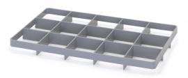 GEF15U | AUER vakverdeler voor eurobox 60x40 cm, 15 vakken, afm. 10,9x11,7 cm (bxd) voor onder, glas ø max. 10,8 cm, RAL 7001 zilvergrijs, fabrieksgarantie 2 jr