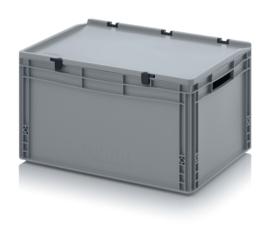 ED6432 | AUER eurobak met scharnierend deksel en sluitingen, afm. 60x40x33,5 cm (lxbxh), handgrepen open, stapelbaar, zilvergrijs RAL 7001, volume 66 liter, gewicht 3,16 kg, fabrieksgarantie 5 jr