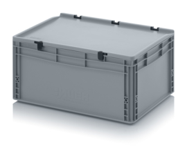 ED6427-HG | AUER eurobak met scharnierend deksel en sluitingen, afm. 60x40x28,5 cm (lxbxh), handgrepen gesloten, stapelbaar, zilvergrijs RAL 7001, volume 56 liter, gewicht 2,92 kg, fabrieksgarantie 5 jr