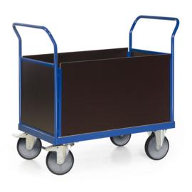103-1027 | TAUROFLEX platformwagen serie F600 met 4 kopwanden van hout (525 mm hoog), laadvlak afm. 1200x800 mm, wiel ø 200 mm, draagvermogen 600 kg, gewicht 69 kg, fabrieksgarantie 5 jr