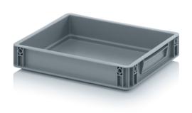 EG4375-HG | AUER eurobak gesloten uitvoering, afm. 40x30x7,5 cm (lxbxh), handgrepen gesloten, stapelbaar, zilvergrijs, inhoud 6,9 liter, gewicht 0,75 kg