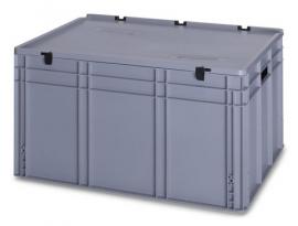 ED8642-HG | AUER eurobak met scharnierend deksel en sluitingen, afm. 80x60x43,5 cm (lxbxh), handgrepen gesloten, stapelbaar, zilvergrijs RAL 7001, volume 172 liter, gewicht 8 kg, fabrieksgarantie 5 jr