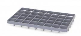 GEF40U | AUER vakverdeler voor eurobox 60x40 cm, 40 vakken afm. 6,7x6,7 cm (bxd) voor onder, glas ø max. 6,5 cm, RAL 7001 zilvergrijs