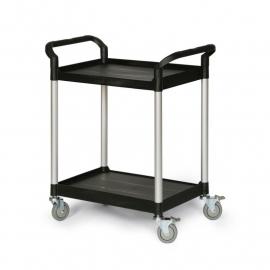 5121300 | TAUROTRADE etagewagen van zwart kunststof/aluminium, 2 laadvlakken afm. 680x450 mm (lxb), draagvermogen 160 kg, 4 zwenkwielen