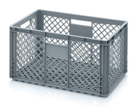 EO6432 | AUER eurobak met geperforeerde bodem en wanden, afm. 60x40x32 cm (lxbxh), RAL 7001 zilvergrijs, inhoud 64 l, gewicht 1,96, fabrieksgarantie 2 jr