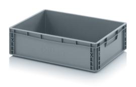 EG6417-HG | AUER eurobak gesloten uitvoering, afm. 60x40x17 cm (lxbxh), handgrepen geloten, stapelbaar, zilvergrijs, inhoud 35 liter, gewicht 1,51 kg