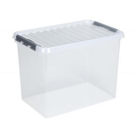 83600609   | SUNWARE Q-Line opbergbox met handgreep, clipsluiting, afm. 600x400x420 mm (bxdxh), 72 liter, transparant/zwart