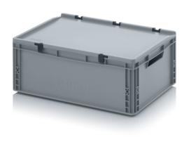 ED6422 | AUER eurobak met scharnierend deksel en sluitingen, afm. 60x40x23,5 cm (lxbxh), handgrepen open, stapelbaar, zilvergrijs RAL 7001, volume 45 liter, gewicht 2,51 kg, fabrieksgarantie 5 jr