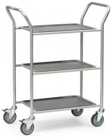 5033 | BRAUCKE serveerwagen met uitneembare serveerbladen, 3-etages, laadvlak 610x430 mm, draagvermogen 90 kg,  gewicht 17 kg