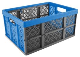 88300006 | SUNWARE Basic stapelbare vouwkrat met open handgrepen, afm. 49x36x25 cm (bxdxh), draagvermogen 16 kg, inhoud 32 liter, kleur antraciet/blauw, gewicht 1 kg