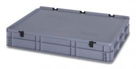 ED8612-HG | AUER eurobak met scharnierend deksel en sluitingen, afm. 80x60x13,5 cm (lxbxh), handgrepen gesloten, stapelbaar, zilvergrijs RAL 7001, volume 45 liter, gewicht 5,03 kg, fabrieksgarantie 5 jr