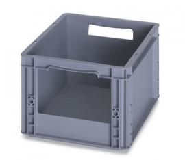SLK4322 | AUER  eurobak met raamopening 20x12 cm, afm. 40x30x22 cm (lxbxh), handgrepen open, stapelbaar, RAL 7001 zilvergrijs, volume 20 l, gewicht 1,30 kg