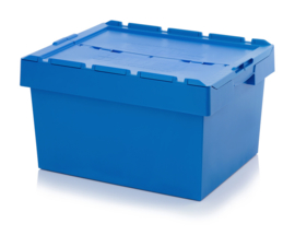 MBD8642 | AUER opslagbak met klapdeksel, buiten afm. 80x60x44 cm (lxbxh), inhoud 142,6 ltr, stapelbaar, hemelsblauw RAL 5015, gewicht 8,29 kg