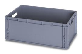 EG6422 | AUER eurobox gesloten uitvoering, afm. 60x40x22 cm (lxbxh), handgrepen open, stapelbaar, RAL 7001 zilvergrijs,  inhoud 45 l, gewicht 1,76 kg