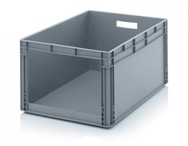 SLK8642 | AUER eurobak met raamopening, afm. 80x60x42 cm (lxbxh), handgrepen open, stapelbaar, RAL 7001 zilvergrijs