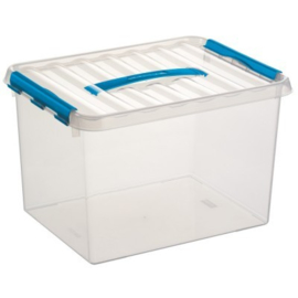 78800611 | SUNWARE Q-Line opbergbox met handgreep, clipsluiting, 22,0 liter, transparant/blauw, A4 bodemmaat