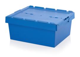 MBD8632 | AUER opslagbak met klapdeksel, buiten afm. 80x60x34 cm (lxbxh), inhoud 104,8 ltr, stapelbaar, hemelsblauw RAL 5015, gewicht 7,36 kg