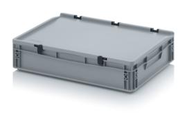 ED6412-HG | AUER eurobak met scharnierend deksel en sluitingen, afm. 60x40x13,5 cm (lxbxh), handgrepen gesloten, stapelbaar, zilvergrijs RAL 7001, volume 24 liter, gewicht 2,01 kg, fabrieksgarantie 5 jr