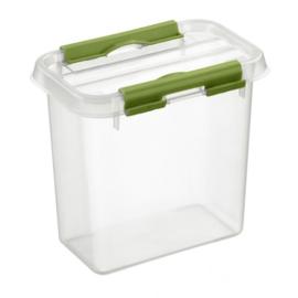 72601261 |SUNWARE Q-Line opbergbox 1,1 liter, transparant/groen, stapelbaar