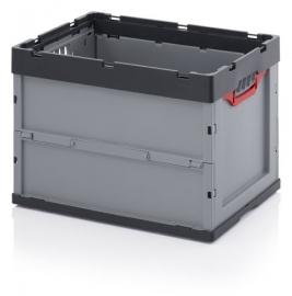 FB6442 | AUER  euro-vouwbak zonder deksel, afm. 60x40x42 cm (lxbxh), volume 87 l, handgrepen open, stapelbaar, RAL 7001 zilvergrijs/RAL 7016 antracietgrijs, gewicht 3,78 kg