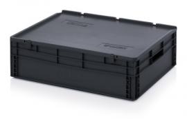 ESD-ED8622-HG | AUER eurobak antistatisch, gesloten uitvoering met scharnierend deksel, afm. 80x60x24 cm (lxbxh), volume 87 l, stapelbaar, RAL 9017 zwart, gewicht 6,89 kg