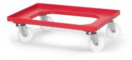 RO64-PA-RD | QUALITY BOX transportroller COMPACT voor stapelbare Eurobakken 60x40 cm of 30x40 cm, 4x polyamide zwenkwielen ø 10 cm ongeremd, wielvorken gegalvaniseerd, draagvermogen 250 kg, kleur rood RAL 3020, gewicht 3,7 kg