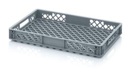 EO6475 | AUER eurobak met geperforeerde bodem en wanden, buitenafm. 60x40x7,5 cm (lxbxh), RAL 7001 zilvergrijs, inhoud 13 l, gewicht 1,04 kg, fabrieksgarantie 2 jr