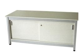 SDK1840 | PROMAIL werktafel stahoogte met schuifdeuronderkast, afm. 1840x750x920 mm (bxdxh), stelvoetjes