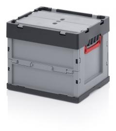 FBD4332 | AUER euro-vouwbak met deksel, afm. 40x30x32 cm (lxbxh), handgrepen open, stapelbaar, RAL 7001 zilvergrijs/RAL 7016 antracietgrijs, volume 29 l, gewicht 2,47 kg