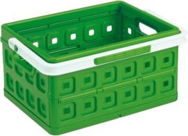 57500606 | SUNWARE Square stapelbare vouwkrat met open handgrepen en draaghengsel, afm. 43,5x31x21,3 cm (bxdxh), draagvermogen 15 kg, inhoud 24 liter, kleur natuur-groen/wit, gewicht 1,6 kg, fabrieksgarantie 2 jr