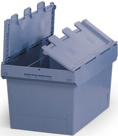616766 | BITO combikrat incl. klapdeksel, afm 61x40x19 cm (lxbxh), inhoud 29 ltr, stapelbaar, duifblauw