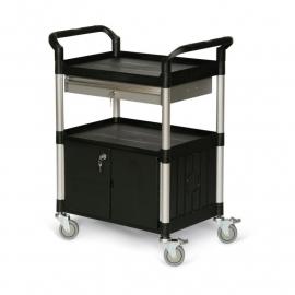 5121305 | TAUROTRADE etagewagen van zwart kunststof/aluminium, 3 laadvlakken afm. 680x450 mm (lxb), draagvermogen 240 kg, afsluitbare deurkast en schuiflade, 4 zwenkwielen