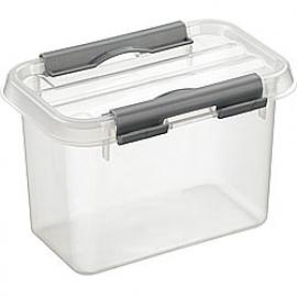 72501209 | SUNWARE Q-Line opbergbox 0,8 liter, transparant/metallic, stapelbaar