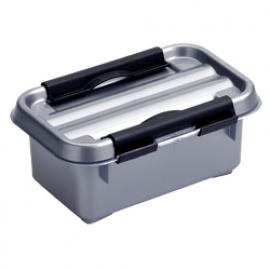 72401228 | SUNWARE Q-Line opbergbox 0,5 liter, afm. 15x10x6,3 cm, metallic/zwart, deksel met clipsluiting, stapelbaar