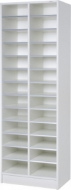 E31W22 | PRIMA OFFICE vakkenkast Classic IP-Maxi/625, 2 kolommen 26 vakken, vakhoogte 115 mm hoog, afm. 615x400x1800 mm (bxdxh), decor witlaminaat