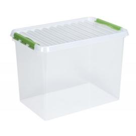 83600661    | SUNWARE Q-Line opbergbox met handgreep, clipsluiting, afm. 600x400x420 mm (bxdxh), 72 liter, transparant/groen
