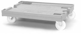 RO86-PA | QUALITY BOX transportroller MAXI voor stapelbare Eurobakken 80x60 cm of 40x30 cm, 4x polyamide zwenkwielen ø 12,5 cm ongeremd, draagvermogen 250 kg, kleur zilvergrijs, gewicht 8,86 kg