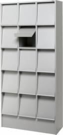 E31G61 | PRIMA OFFICE Classic Expo tijdschriften- folderkast, 15 vakken met schuine klep, decor grijslaminaat, afm. 830x400x1800 mm (bxdxh)