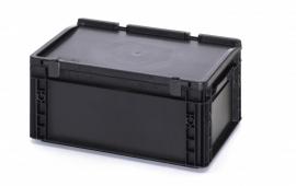 ESD-ED4317-HG | AUER Euro-bak ESD antistatisch, gesloten uitvoering met scharnierend deksel, afm. 400x300x185 mm (lxbxh), handgrepen gesloten, volume 15 l, stapelbaar, RAL 9017 zwart, gewicht 1,68 kg, fabrieksgarantie 5 jr