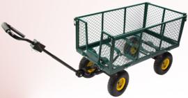 20037   DEMA handwagen Green, incl. draadgaas zijwanden, afvalzak en afneembare disselkop, 2-assig, totaal afm. 2100/1020x540x1010 mm (lxbxh), laadvlak afm. 500x920 mm (bxd), draagvermogen 300 kg, inhoud 160 liter, luchtbanden, gewicht 20 kg