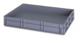 EG8612-HG | QUALITY BOX eurobak gesloten uitvoering, afm. 80x60x12 cm (lxbxh), handgrepen gesloten, stapelbaar, zilvergrijs, inhoud 45 liter, gewicht 3,15 kg