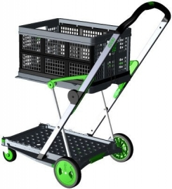 399051 | CLAX inklapbare vouwkrattrolley, kleur grijs-groen, draagvermogen 60 kg, afm. 890x550x1025 mm (lxbxh), incl. 1 vouwkrat afm. 540x380x265 mm (lxbxh), kratinhoud 46 liter, gewicht 6,7 kg